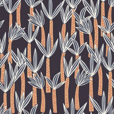Palm seamless pattern in doodle style on black background. Endless print texture. Cute exotic hawaiian background. Design for fabric, textile print, wrapping paper. Vector illustration