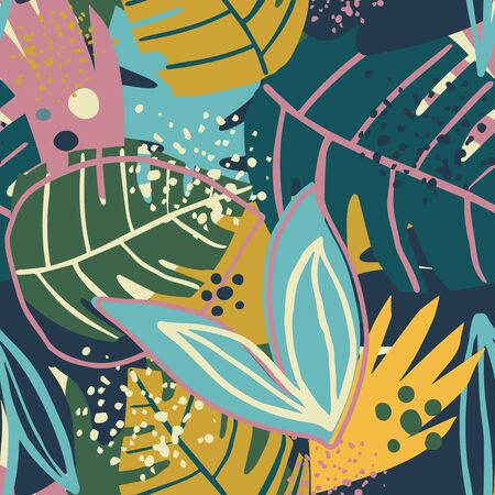 Contemporary exotic floral seamless pattern. Creative tropical hand drawn textures. Contemporary collage design. Modern wallpaper, fabric and packaging design. Botanical vector illustration