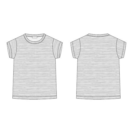Outline technical sketch children's t shirt in melange fabric. Classic casual clothes. Front and back. Kids t-shirt design template. Vector illustration.