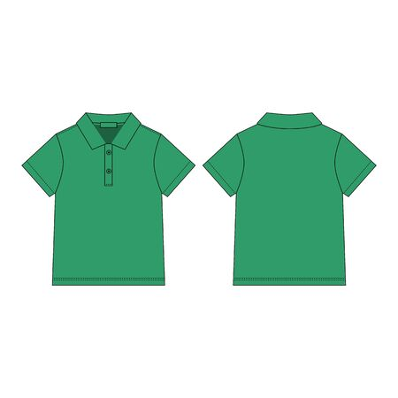 T-shirt polo in green color design template. Classic polo shirt. Casual clothes style. Front and back. technical sketch. Vector illustration