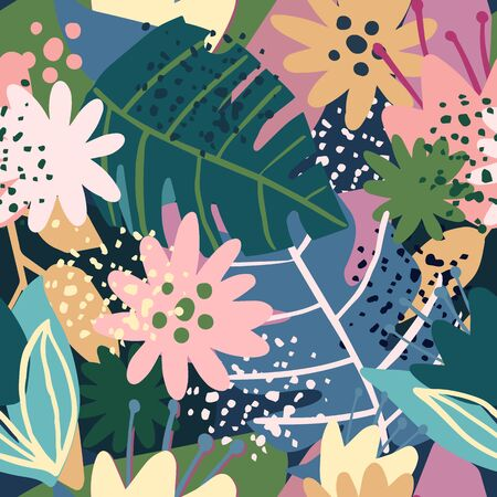 Seamless pattern with trendy exotic floral. Contemporary collage design. Creative tropical hand drawn textures. Modern wallpaper, fabric and packaging design. Botanical vector illustration Illustration