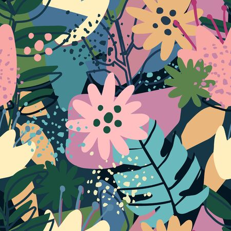 Contemporary collage design. Seamless pattern with trendy exotic floral. Creative tropical hand drawn textures. Modern wallpaper, fabric and packaging design. Botanical vector illustration