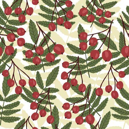 Vintage rowan seamless pattern on leaf background. Floral backdrop. Botanical wallpaper. Textile print design. Vector illustration
