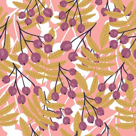 Rowan branches seamless pattern on pink leaf background. Floral backdrop. Botanical wallpaper. Textile print design. Vector illustration