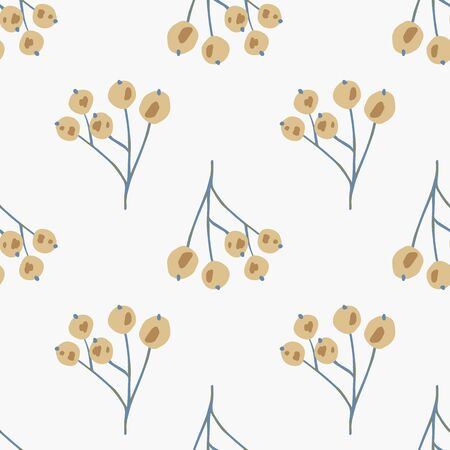 Vintage rowan berries seamless pattern on white background. Floral berry backdrop in doodle style. Botanical wallpaper. Textile print design. Vector illustration
