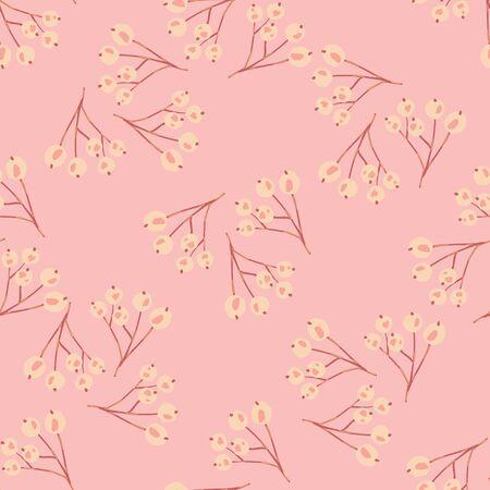 Vintage rowan berries seamless pattern on pink background. Botanical wallpaper. Floral berry backdrop in doodle style. Textile print design. Vector illustration Stock Illustratie