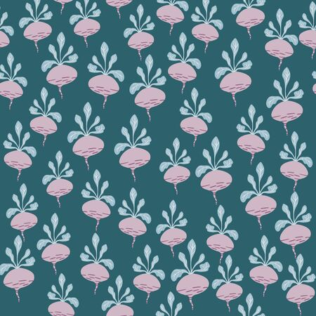 Funny beetroot backdrop. Hand drawn geometric beet seamless pattern on green background. Botanical wallpaper. Design for fabric, textile print, wrapping paper, kitchen textiles. Vector illustration