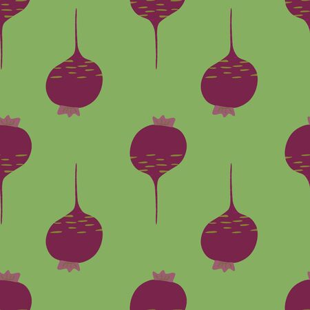 Doodle beetroot backdrop. Hand drawn beet seamless pattern. Botanical wallpaper. Design for fabric, textile print, wrapping paper, kitchen textiles. Vector illustration Illusztráció
