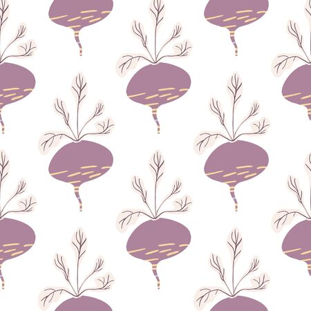 Hand drawn geometric beet seamless pattern. Funny beetroot backdrop. Botanical wallpaper. Design for fabric, textile print, wrapping paper, kitchen textiles. Vector illustration Illusztráció