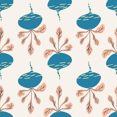 Hand drawn beet seamless pattern background. Vintage beetroot backdrop. Botanical wallpaper. Design for fabric, textile print, wrapping paper, kitchen textiles. Vector illustration