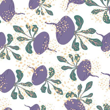 Funny beetroot backdrop. Hand drawn beet seamless pattern. Botanical wallpaper. Design for fabric, textile print, wrapping paper, kitchen textiles. Vector illustration Illusztráció