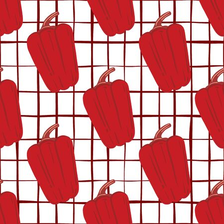 Red pepper hand drawn backdrop. Vintage bell pepper seamless pattern.