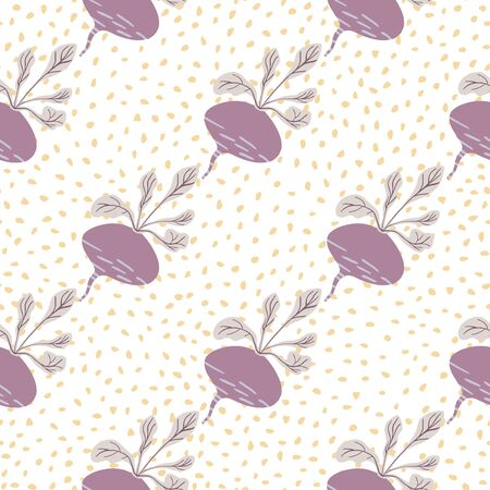 Hand drawn beet seamless pattern on dots background. Doodle beetroot backdrop. Botanical wallpaper. Design for fabric, textile print, wrapping paper, kitchen textiles. Vector illustration Illusztráció