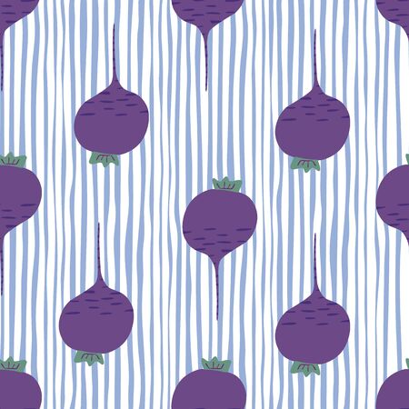 Hand drawn beet seamless pattern on stripes background. Doodle beetroot backdrop. Botanical wallpaper. Design for fabric, textile print, wrapping paper, kitchen textiles. Vector illustration Illusztráció