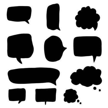 Ensemble de bulles dessinées à la main et de ballons de dialogue. Chat de modèle de collection, message. Conception de commentaire vierge Doodle. Illustration vectorielle.