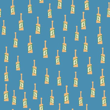 Funny glass bottle seamless pattern on blue background. Alcohol bar bottles in doodle style. Design for fabric, textile print, wrapping paper. Creative vector illustration