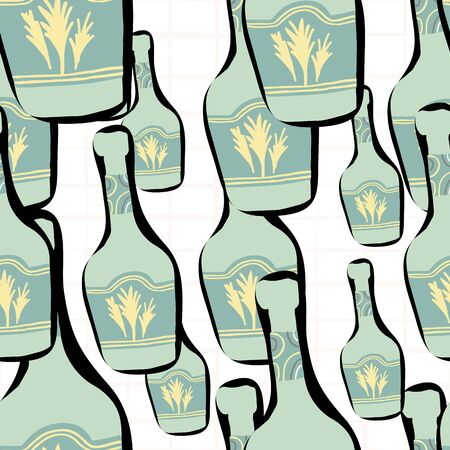 Doodle glass bottle seamless pattern on white background. Alcohol bar bottles in doodle style. Design for fabric, textile print, wrapping paper. Creative vector illustration