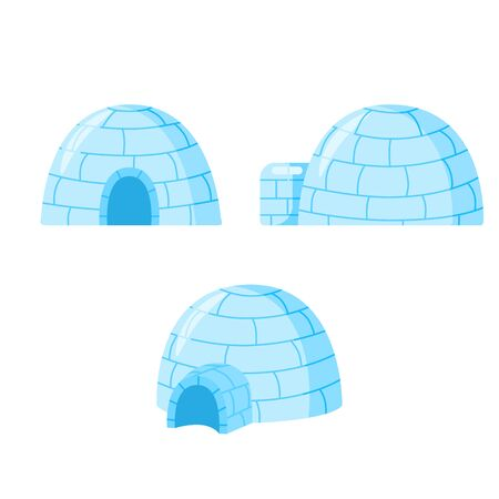 Seo of igloo isolated on white background. Icy cold house in flat design. Winter construction from ice blocks. Eskimo peoples house. Vector illustration Illustration