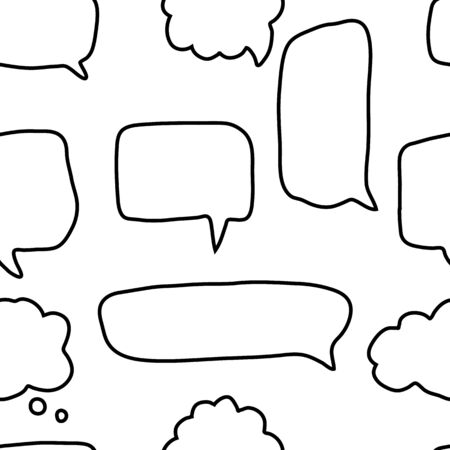 Doodle speech bubbles shapes seamless pattern on white background. Social media communication concept. Talk bubble speech icon wallpaper. Outline vector illustration. ベクターイラストレーション