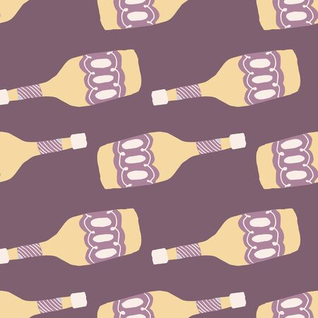 Funny glass bottle seamless pattern. Alcohol bar bottles in doodle style. Design for fabric, textile print, wrapping paper. Creative vector illustration Stock Illustratie