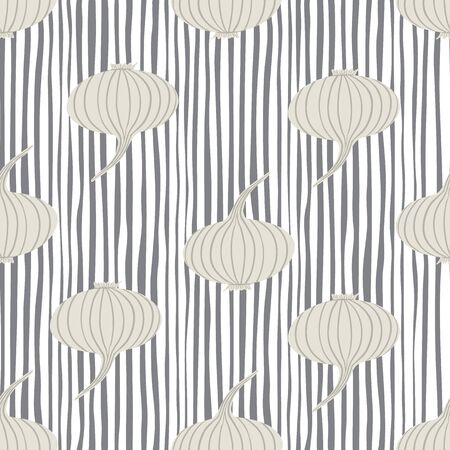 Ripe onion seamless pattern on stripes backdground. Hand drawn onion bulb vegetable wallpaper. Organic texture. Design for fabric, textile print, wrapping paper, kitchen textiles. Vector illustration Ilustrace
