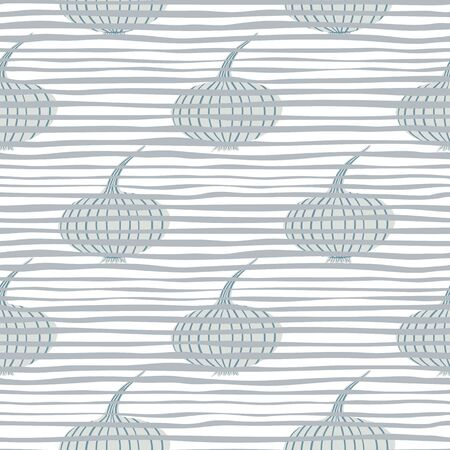 Vintage onion seamless pattern on stripes background. Onion bulb vegetable wallpaper. Organic texture. Design for fabric, textile print, wrapping paper, kitchen textiles. Vector illustration Ilustrace
