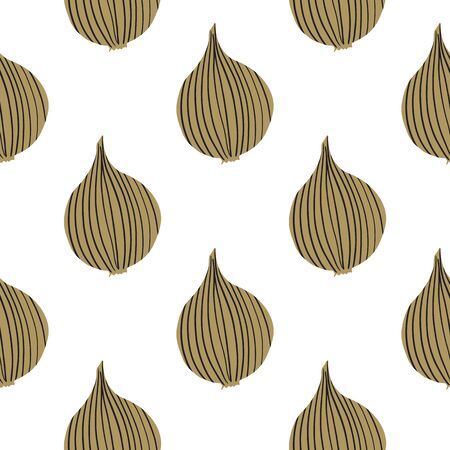 Geometric onion seamless pattern. Hand drawn onion bulb vegetable wallpaper. Organic texture. Design for fabric, textile print, wrapping paper, kitchen textiles. Modern vector illustration Ilustrace