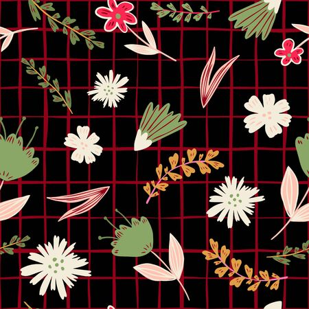 Folk floral seamless pattern on stripes background. Modern cute forest little flowers and leaves wallpaper. Design for book covers, graphic art, wrapping paper, fabric, textile. Vector illustration 向量圖像