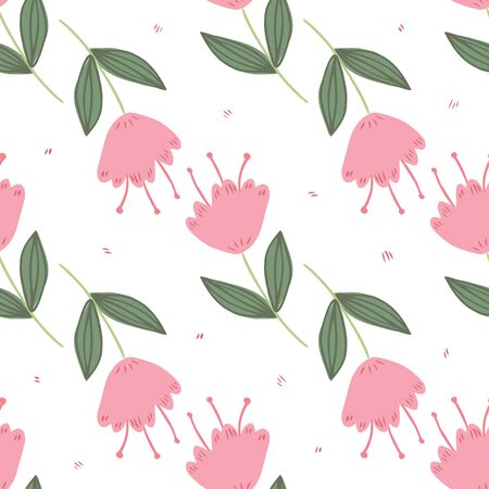 Cute floral seamless pattern on white background. Hand drawn geometric little flowers and leaves wallpaper. Design for book covers, graphic art, wrapping paper, fabric, textile. Vector illustration