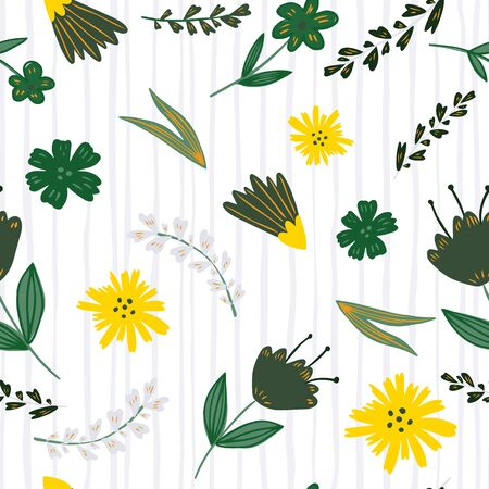 Folk floral seamless pattern on stripes background. Cute little flowers wallpaper in vintage style. Design for book covers, graphic art, wrapping paper, fabric, textile. Vector illustration
