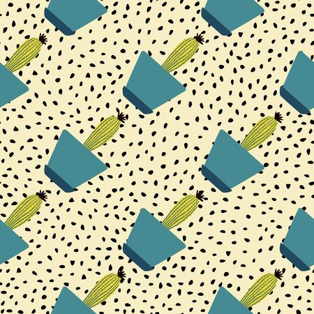 Houseplant cacti backdrop. Creative cactus in pot seamless pattern in dodle style. Botanical exotic wallpaper. Design for fabric, textile print, wrapping paper, kitchen textiles. Vector illustration.