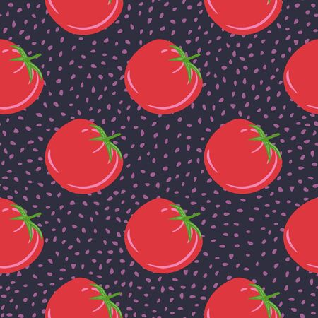 Red tomatoes on dots background. Doodle tomato seamless pattern. Organic healthy vegetable wallpaper. Design for textile print, wrapping paper, kitchen textiles, cover. Simple vector illustration Illustration