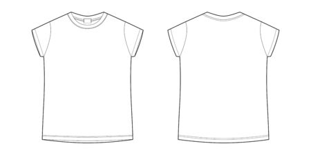 Childrens technical sketch tee shirt. T-shirt blank template vector illustration isolated on white background. Front and back. Casual style. Ilustracja