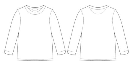 Childrens technical sketch sweatshirt. KIds wear jumper design template isolated on white background. Front and back view. Outline vector illustration 矢量图片