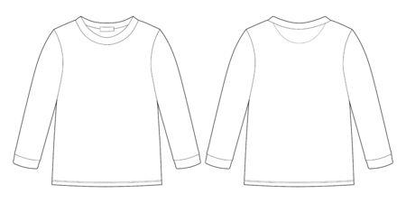 Technisches Skizzen-Sweatshirt für Kinder. Kinder tragen Pullover-Design-Vorlage auf weißem Hintergrund. Vorder- und Rückansicht. Umriss-Vektor-Illustration Vektorgrafik