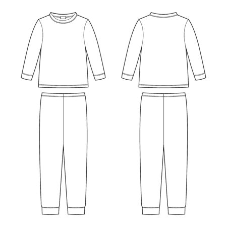 Childrens pajamas technical sketch. Cotton sweatshirt and pants. KIds nighwear design template isolated on white background. Front and back view. Outline vector illustration