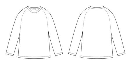 Childrens technical sketch raglan sweatshirt. KIds wear jumper design template isolated on white background. Front and back view. Outline vector illustration Ilustracja