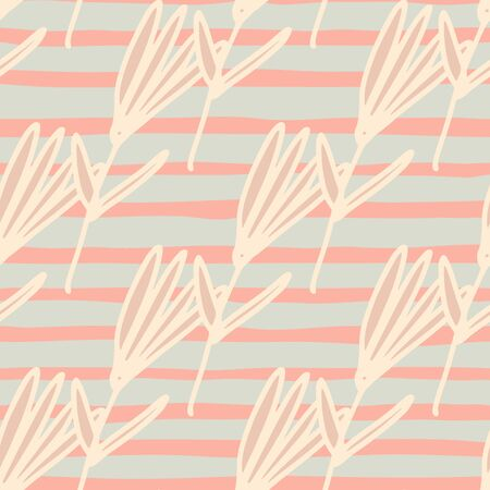 Little flowers seamless pattern in sketch style on stripes background. Cute floral wallpaper. Design for fabric, textile print, wrapping paper, cover. Naive art illustration. Illustration