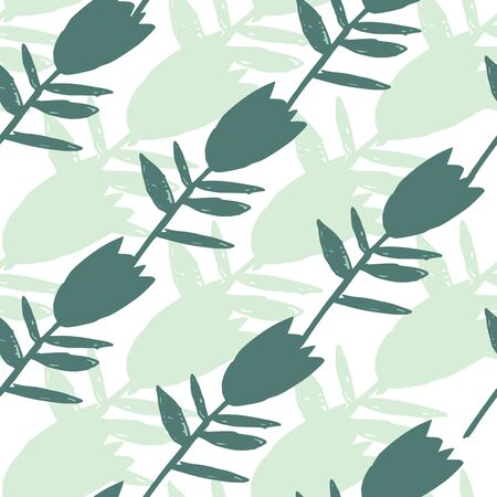 Abstract green bluebell flowers seamless pattern. Abstract floral endless wallpaper. Decorative backdrop for fabric design, textile print, wrapping paper, cover. Vector illustration Ilustração