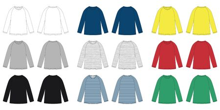 Childrens vector technical sketch raglan sweatshirt. KIds wear jumper design template isolated. White, gray, black, blue, yellow, red, green colors. Melange and stripes fabric. Front and back view