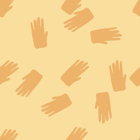 Hand shapes seamless pattern in simple style on yellow background. Silhouette of a human hands wallpaper. Design for fabric, textile print, wrapping paper, cover. Vector illustration Stock Illustratie
