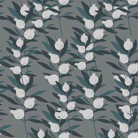 Seamless pattern with leaves and berries on gray background. Floral wallpaper. Botanical print. Decorative backdrop for fabric design, textile print, wrapping paper, cover. Vector illustration