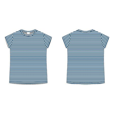 Childrens technical sketch tee shirt in blue stripes fabric. T-shirt blank template vector illustration isolated on white background. Front and back. Casual style.