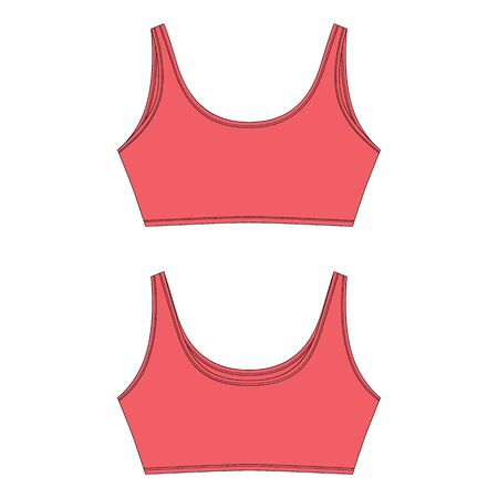 Technical sketch of bra in red color for girls isolated. Yoga underwear design template vector illustration. Front and back views.