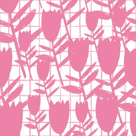 Abstract pink bluebell flowers seamless pattern on white background. Floral endless wallpaper. Decorative backdrop for fabric design, textile print, wrapping paper, cover. Vector illustration