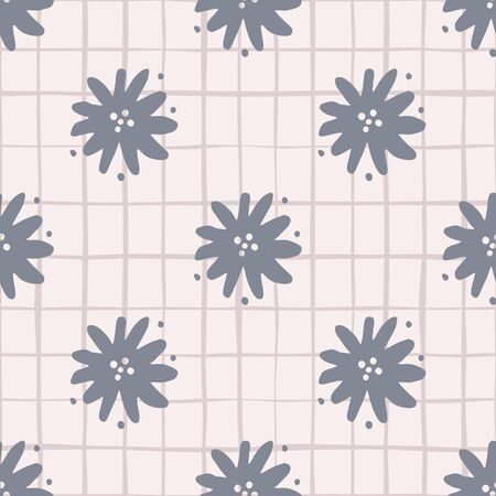 Scandinavian simple flower seamless pattern. Cute chamomile endless wallpaper. Ditsy floral background. Design for fabric, textile print, wrapping paper, cover. Vector illustration.