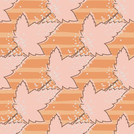 Abstract maple leaves seamless pattern on pink background. Autumn leaf wallpaper. Decorative backdrop for fabric design, textile print, wrapping paper, cover. Vintage vector illustration Illustration