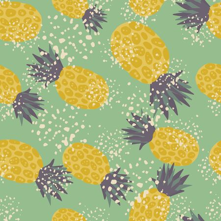 Exotic tropical fruits wallpaper. Grunge pineapple seamless pattern on green background. Decorative backdrop for fabric design, textile print, wrapping, cover. Vector illustration Illustration