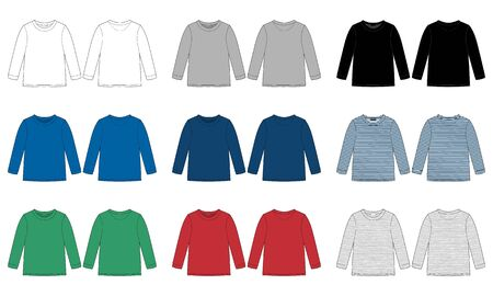 Kids wear jumper design template isolated. Childrens vector technical sketch sweatshirt. White, gray, black, blue, yellow, red, green colors. Melange and stripes fabric. Front and back view Vector Illustration