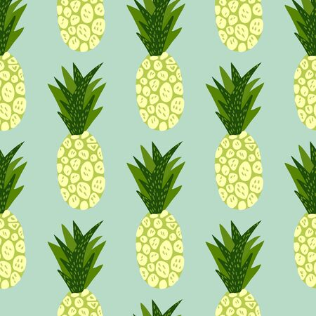 Exotic tropical fruits pattern on blue background. Hand drawn pineapple wallpaper. Decorative backdrop for fabric design, textile print, wrapping, cover. Vector illustration